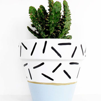 Pastel Blue Dash Hand Painted Plant Pot - 11cm by This Way To The Circus