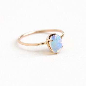 Antique 10k Rose Gold Jelly Opal Ring - Edwardian Oval Colorful Blue, Purple, Green G