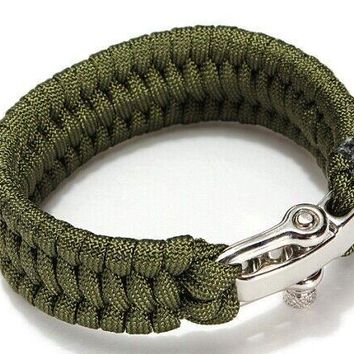 Paracord Parachute Rope Camping Survival Bracelets with Clasp - 2 Color Options
