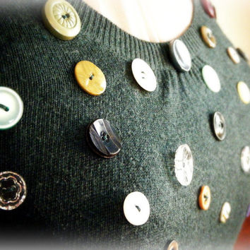Upcycled Jumper Bottle Green With Vintage Buttons AUS Size 10 Eco Friendly Viscose Nylon Cotton Cashmere Fine Knit Dark Green