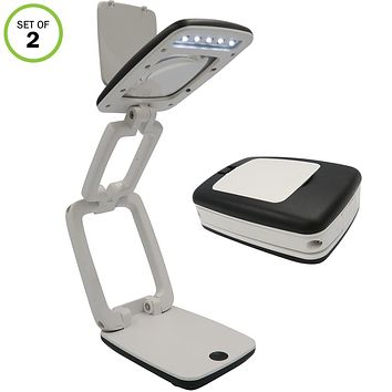 Evelots Desk Light-LED-Foldable-3X Magnifying Glass-Easy Carry-2 Settings-Set/2