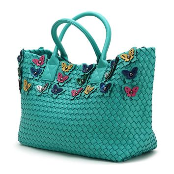 Ladies Woven Leather Butterfly Handbag Large Capacity Basket Bag Cross Stitch Knitting Woman Casual