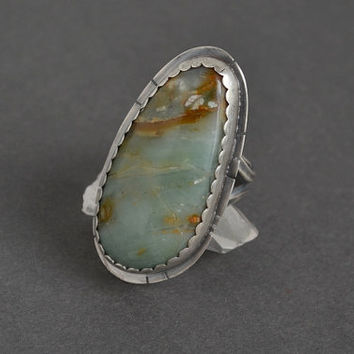 Ocean Picture Rock Ring, Statement Ring, Sterling Silver, Big Ring, Boho Ring, Hippie, Bohemian, Unique Bold Ring, Cocktail Ring, Rare Stone