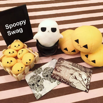 Spoopy Swag! Spooky creepy cute kawaii goth halloween plush toy ghost orange jackolantern pumpkin mochi plushie pencil makeup pouch set