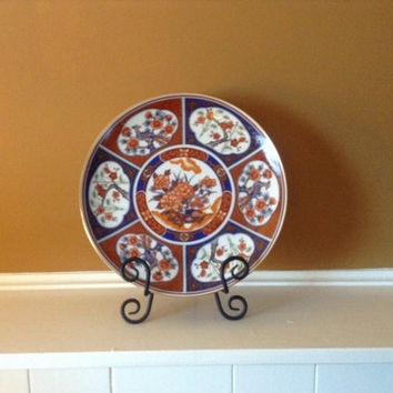 Vintage Striking Imari Ware navy, gold, and Merlot plate. 1970's Birds and cherry blossom theme.