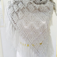 Mothers Day Gifts,Gray Shawl,Gray Wraps Shawl, Crocheted Lace Shawl, lace knit shawl, knit shawl scarf, Handknit Clothing