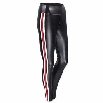 ICIKON3 leggings femmes Elegant pu leather striped leggings Women elastic legging pantsfashion female fitness leggings plus size