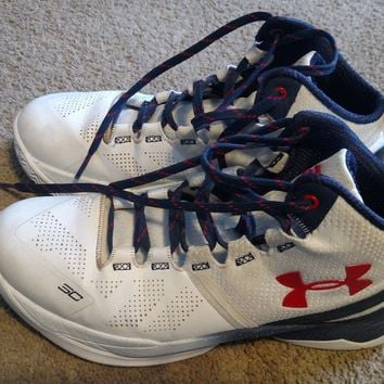 UA Under Armour Basketball Shoes Stephen Curry Two 2 Red White Navy Blue youth 7