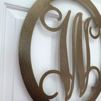 Metal Monogram Door Hanger and matching door hook-  Custom Set-  Over 25 color choices available.