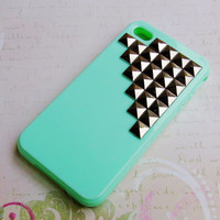 Silicone iPhone 5C case,mint iphone 5 case,soft iphone 4 case,studded phone case,Handmade Phone case,plastic iPhone 5C cover