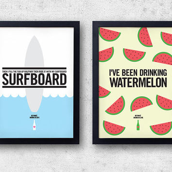"""Beyonce """"Drunk In Love"""" Poster Set! Watermelon and Surfboard prints!  Jay-Z, Kanye West, lyric inspired print"""