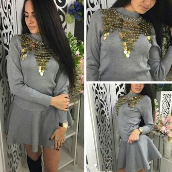 New Women Grey Patchwork Pleated 2-in-1 Sequin Round Neck Mini Dress