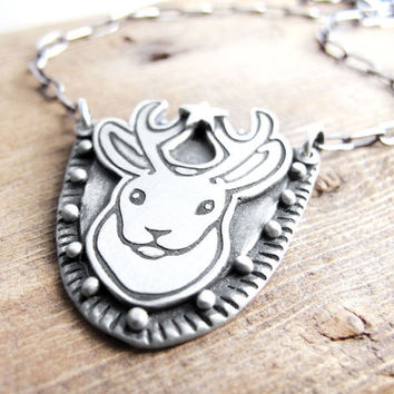 Jackalope necklace, faux taxidermy, Jackalope jewelry, mythical creature, mythic animal