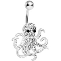 Clear Gem Encrusted Floating Octopus Belly Button Ring | Body Candy Body Jewelry