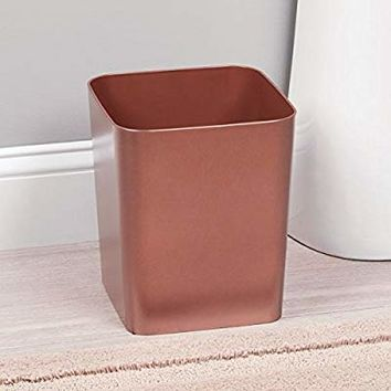 mDesign Square Shatter-Resistant Plastic Small Trash Can Wastebasket, Garbage Container Bin for Bathrooms, Powder Rooms, Kitchens, Home Offices - Rose Gold Finish