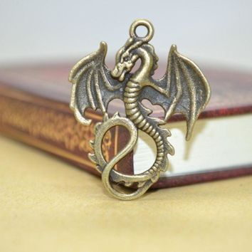 CREYONHS 10Pcs Zinc Alloy Charms Antique Bronze Plated dragon Charms Pendants Metal Jewelry Findings Fit DIY 35*27mm 1419
