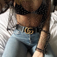 2017 Summer Women Sexy Transparent Loose T Shirt Hollow Out O-Neck Gold foil See Through Womens Tops