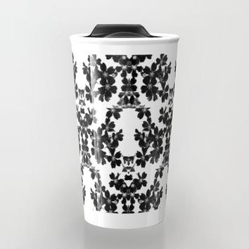 primrose bw pattern Travel Mug by ARTbyJWP
