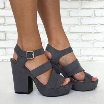 Retro Darling Suede Heels in Slate Grey