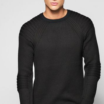 Ribbed Sweat With Biker Details