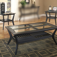 Caliente Black & Glass Coffee Table Set