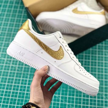 Cristiano Ronaldo X Nike Air Force 1 Low Cr7 White Gold Sport Shoes - Best Online Sale