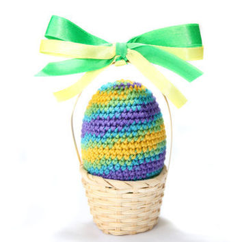 Crocheted Easter Egg in basket / Colorful Easter  Decoration / violet yellow green blue / Natural toy for baby