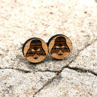 Darth Vader Wooden Cufflinks Star Wars Inspired Cuff Links Groomsmen Accessory Rustic Wood Groom Gift Wedding Cufflinks Gift for Him