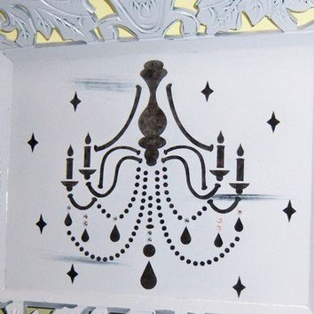 Ornate Chandelier wood tray  crystallized by MoanasUniqueDesigns