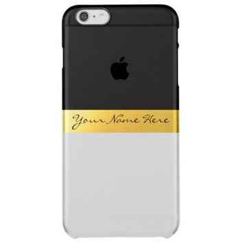Simple Elegant Stylish White Black & Gold Stripes Uncommon Clearly™ Deflector iPhone 6 Plus Case