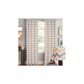 Bh&G Chevron Printed Window Curtain, Rod Pocket Yellow/Grey 52In X 84In