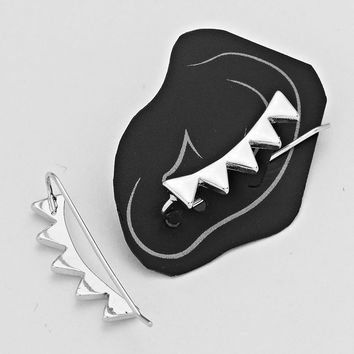 Dainty Spikey Chevron Crawler Set, Silver Pendant Ear Pin Earring