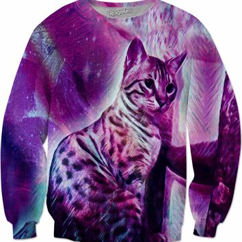 Purrfectly Purplish Kitty Cat Under the Star Showers - Sweatshirt - DistortionArt