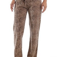 Women's Cotton Rich Knit Lounge Pants - Leopard - Small
