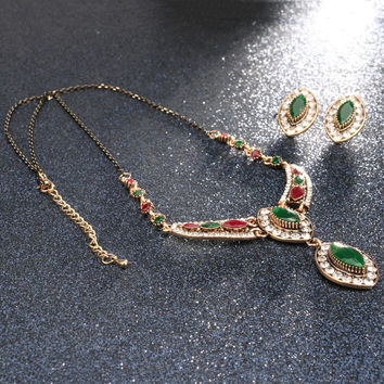 Vintage Sculpture Flowers Ancient Gold Resin Crystal Turkey Jewelry Sets