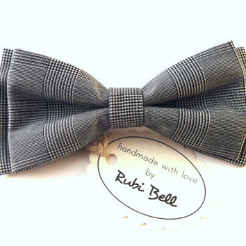 Bow Tie - black and white bow tie - plaid bow tie - man bow tie - mens bow tie