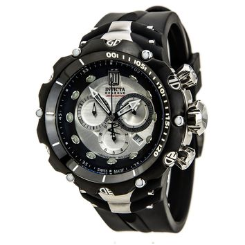 Invicta 14419 Men's Jason Taylor Reserve Antique Silver Dial Black IP Bezel Rubber Strap Chronograph Dive Watch
