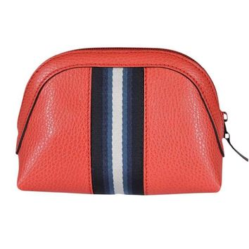 Gucci Women's Web Leather Cosmetic Bag Coral Red 339558