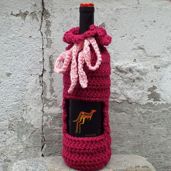 Magenta Wine Cozy - Crochet Wine Bag - Bottle Gift Bag - Wine Holder