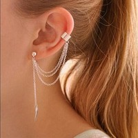 Chain Tassel Leaf Clip Ear Cuff Earrings - Cuff Earrings