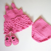 Baby Girls Pink Tank Dress, Bloomers and Mary Janes Set, 0-3 months, MADE TO ORDER.