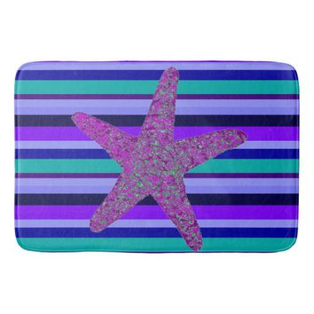 Coastal Blue & Purple Stripe Starfish Bath Mat
