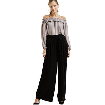 Entro Women's High Waist Loose Fit Wide Legged Pants with Tie at Waist
