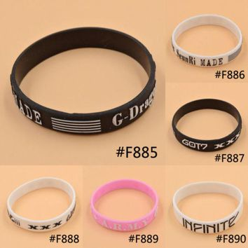 DCCKJG2 Lychee KPOP Bigbang G-Dragon GOT7 BTS Bantam Boys Infinite Same Style Fan Made Silicon Bracelet Wristband