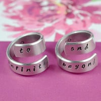 to infinity and beyond - A Pair of Spiral Rings, Hand Stamped, Handwritten Font, Best Friends, Couples, Shiny Aluminum Rings