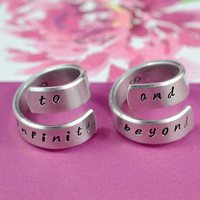 to infinity and beyond - Aluminum Spiral Rings,Hand Stamped, Handwritten Font, Best Friends, Couples