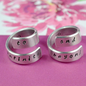 to infinity and beyond - Couples Ring Set,  Hand Stamped, Twist Aluminum Rings, Shiny,  Skinny,  Handwritten Font Version