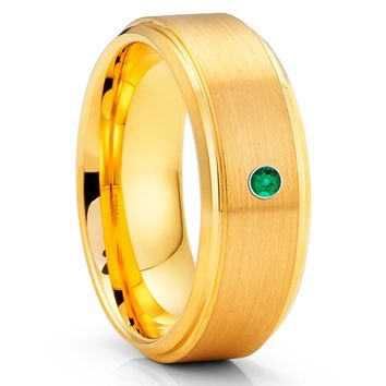 Emerald Tungsten Ring - 8mm - Yellow Gold Tungsten Ring - Brush Ring