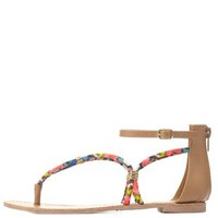 Coral Gold-Wrapped Printed Thong Sandals by Charlotte Russe