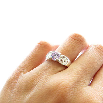 1/2 Carat Filigree Engagement Ring, French Lavender Purple Man Made Diamond, Wedding, Birthstone, Promise Ring, Sterling Silver, 14k